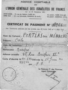 4 Certificat UGIF 1940 pour Calo Portias