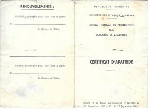 Certificat apatride Nissim Romi  1957 recto