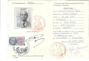 Certificat apatride Nissim Romi  1957 verso